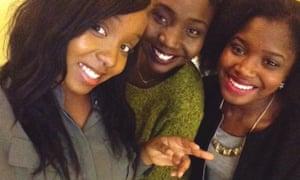 Izinegbe Akhabau celebrates her A-level results with her friends Eva Wainaina and Misan Aviomoh