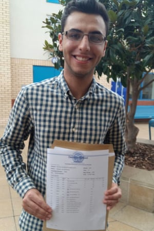 Hassan Al-Sherbaz, 18, celebrating his four A*s at A Level