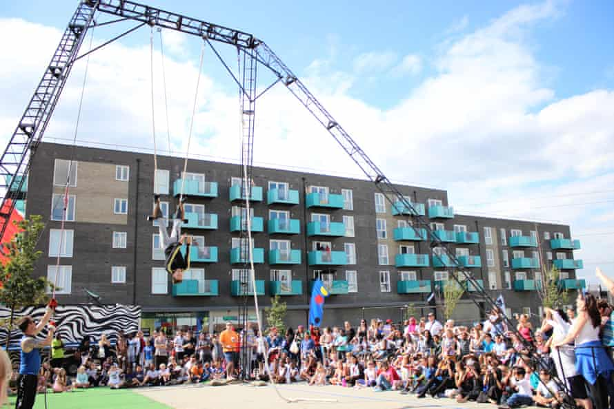 The NoFit State Circus performs at the Rivergate Centre, at the heart of the sprawling development.