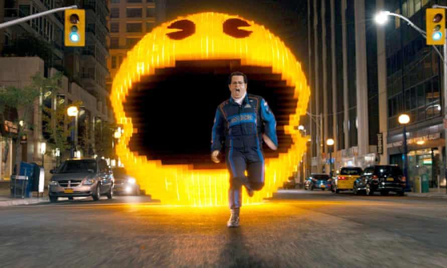Josh Gad is chased by an alien Pac-Man in Pixels.