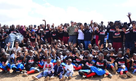 Children from Nairobi on Observation Hill at Amboseli National Park, Kenya, on World Elephant Day, 12 August 2015.