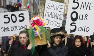 Demonstrators protest against the closure of Madame JoJos, in 2014.