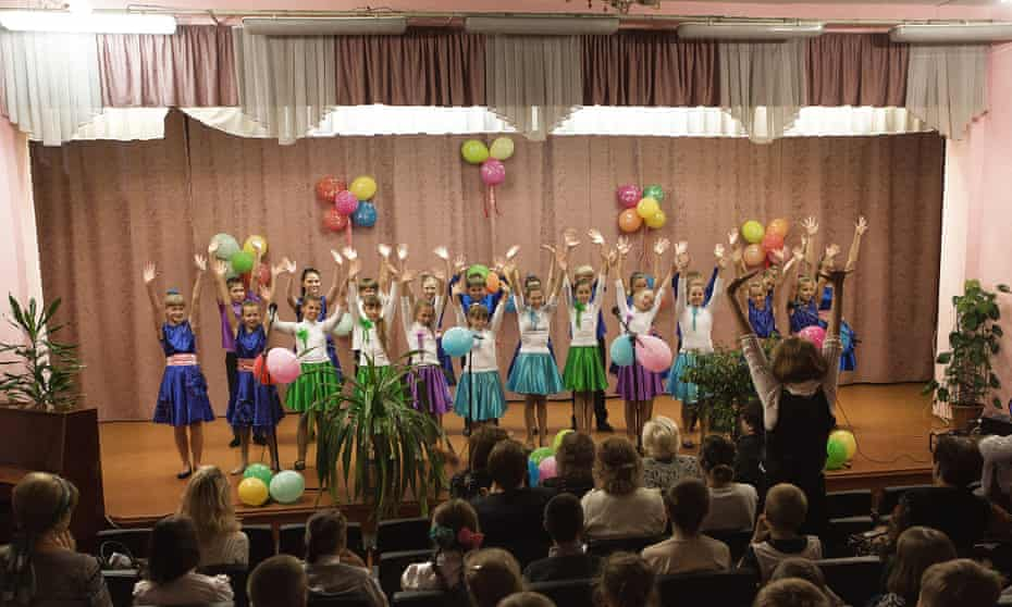 Pupils at the start of the new school year in Luhansk.