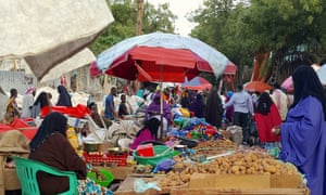 A market in Mogadishu bustles with life