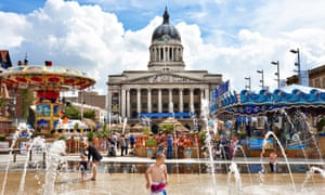 Nottingham Riviera, a temporary artificial urban beach in the citys' Old Market Square.