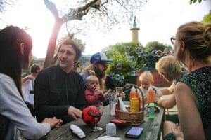 Friends gather at Oceanen bar.