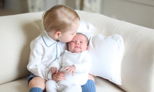 Prince George and his sister, Princess Charlotte, in a picture released by their parents.