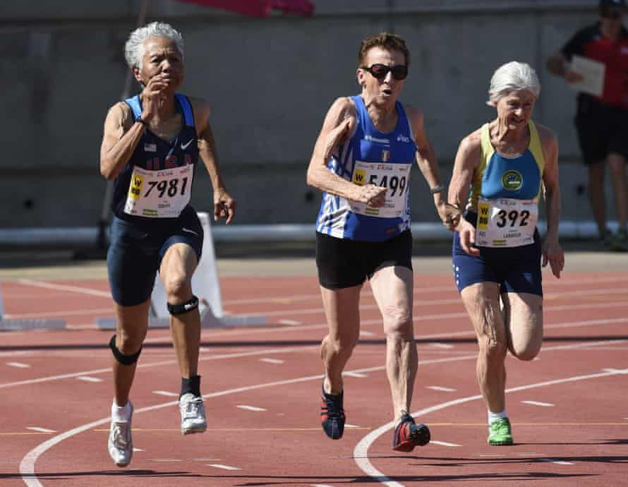 From left: US athlete Irene Obera, Italy's Emma Maria Mazzenga and Australia's Constance Marmour run during the women's 80-years-old 100m final