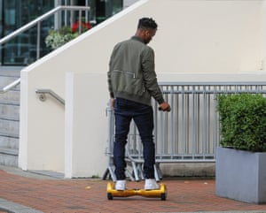 Manchester City star Raheem Sterling arrives at the Lowry Hotel in Salford on his Monorover.