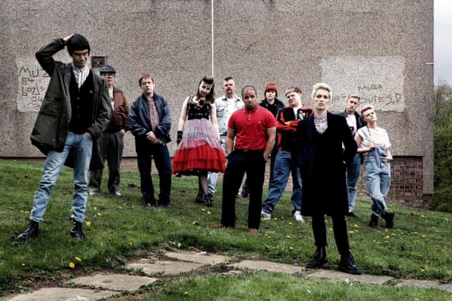 The cast on location for This Is England '86, the 2010 TV mini-series that followed the original film.