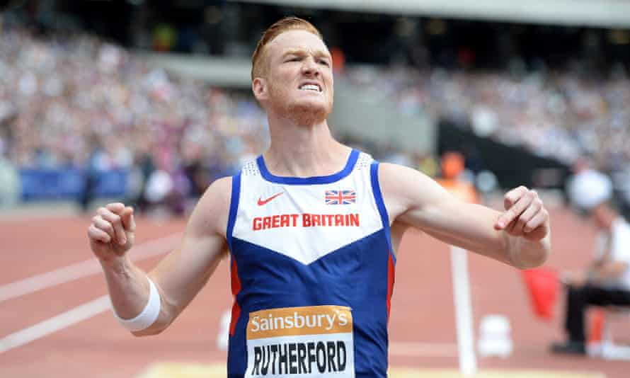 Greg Rutherford competes in the mens long jump during the Sainsbury's Anniversary Games in London