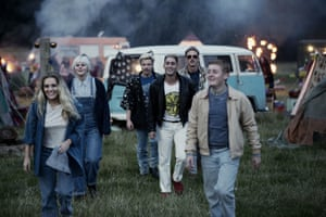 The cast on location for the new series.