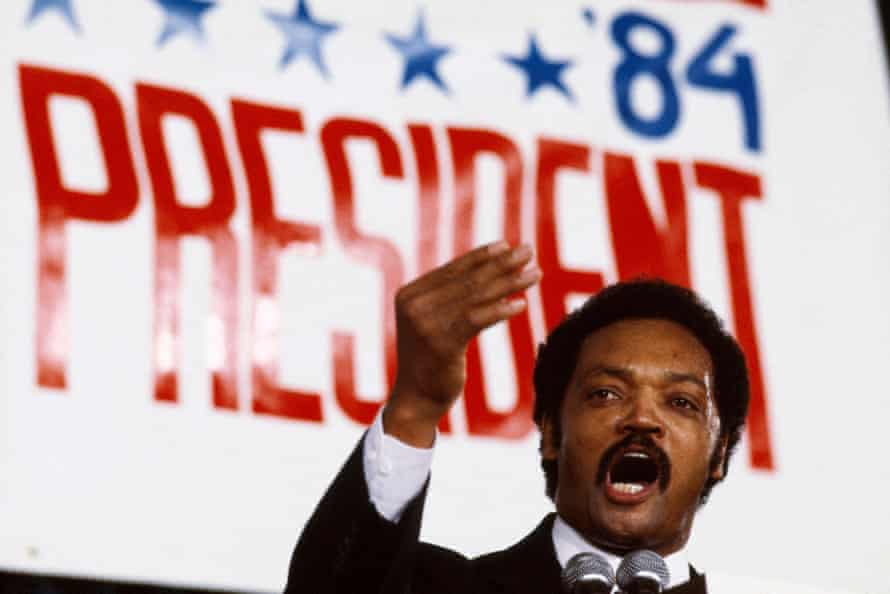Jackson delivers a speech during his 1984 presidential campaign in Chicago, Illinois.