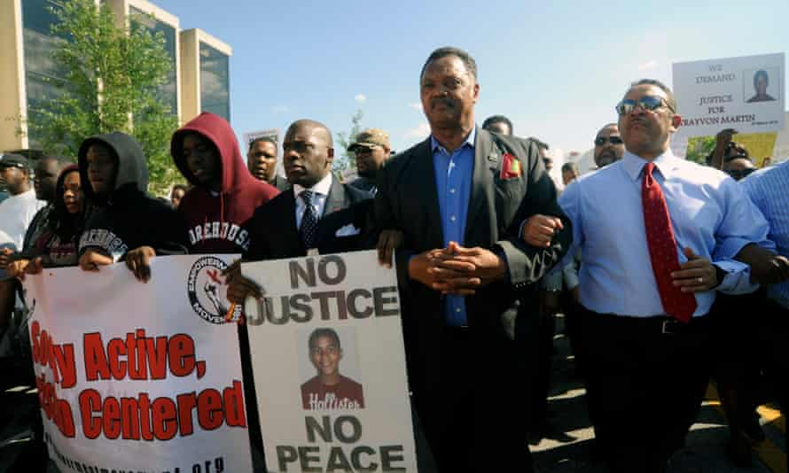 Jackson at a protest march over the death of Trayvon Martin in Florida in 2012.