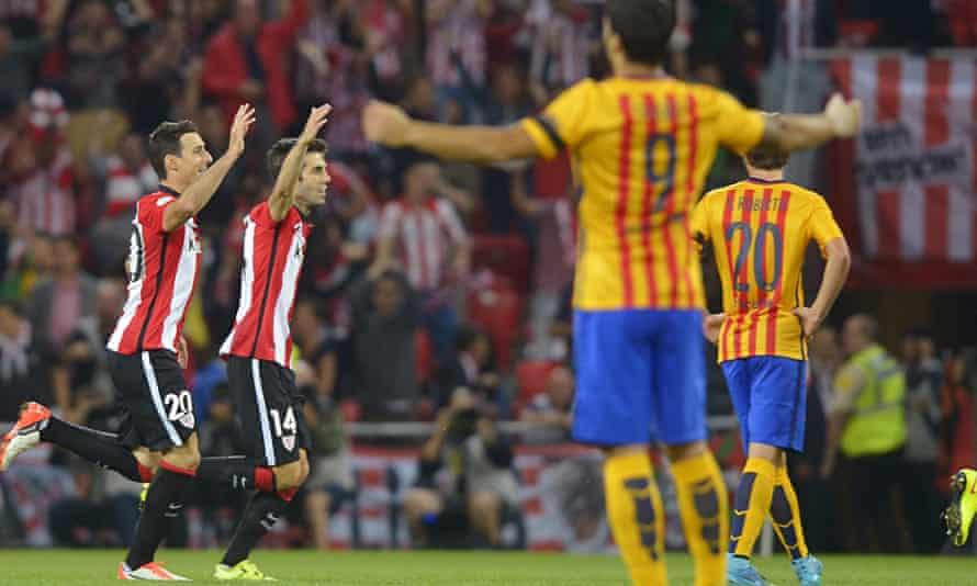 Athletic Bilbao's Aritz Aduriz and Markel Susaeta