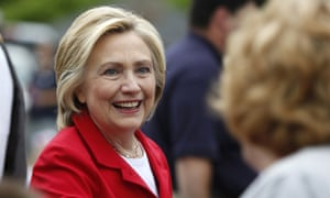 Wobble: Clinton meets voters in New Hampshire, where her lead has diminished.