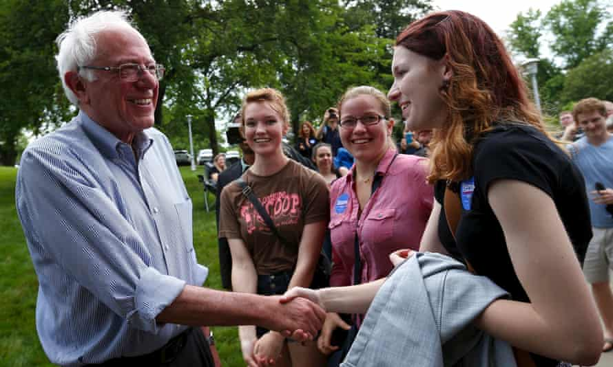 Democratic presidential candidate Bernie Sanders is greeted by supporters as he arrives at a campaign event in Indianola, Iowa, on 14 June 2015.