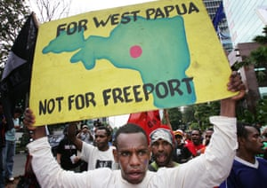 An Indonesian protester demonstrating against the presence of mining multinational PT Freeport