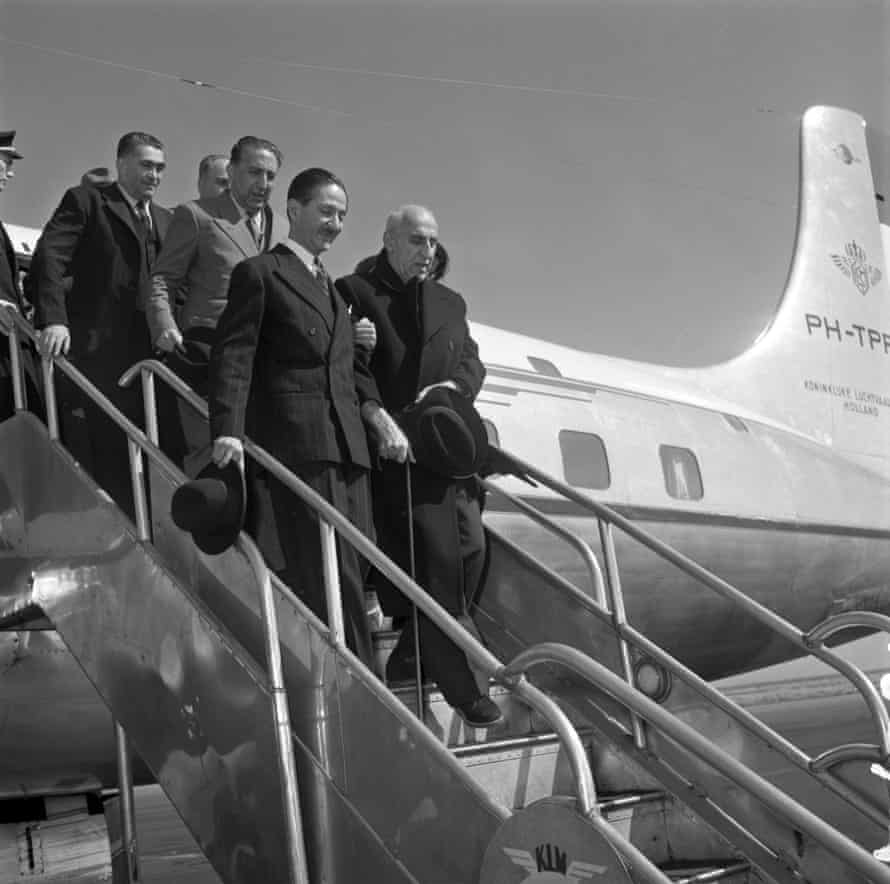 Mohammad Mossadegh steps off a plane in August 1953.
