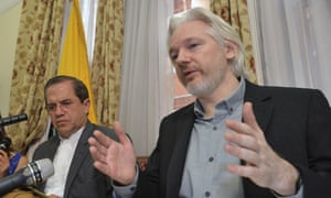 Julian Assange with Ecuador's foreign minister
