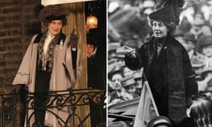 Film composite. Meryl Streep as Emmeline Pankhurst in Suffragette, and Emmeline Pankhust (credit: Getty).