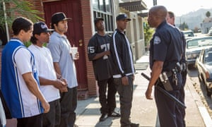 Straight Outta Compton with, from left, Neil Brown Jr  as DJ Yella, Jason Mitchell as Eazy-E, O'Shea Jackson Jr as Ice Cube, Aldis Hodge as MC Ren and Corey Hawkins as Dr Dre.