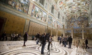 An interior view of the Sistine Chapel
