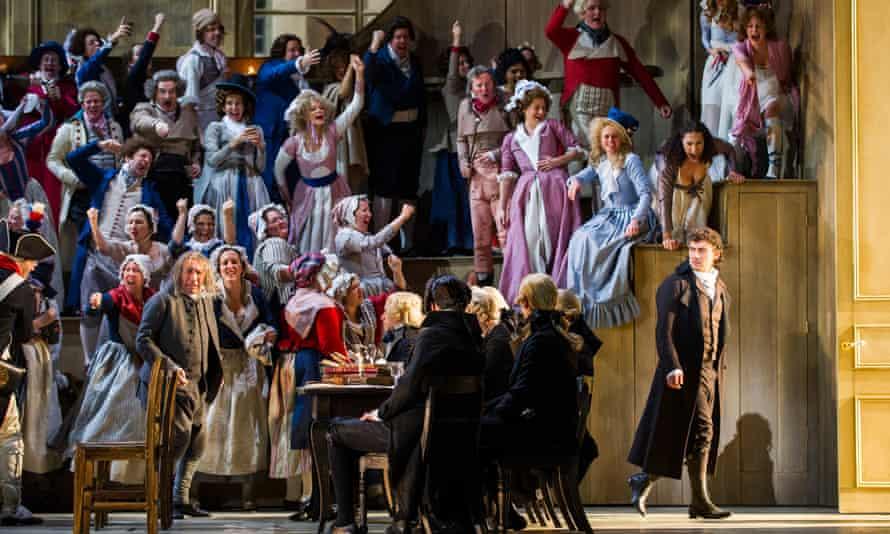 Jonas Kaufmann, far right, in Andrea Chenier at the  Royal Opera House.