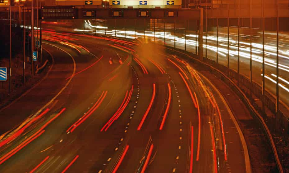 Traffic on the M1 motorway at junction 24.