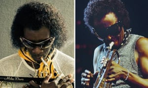 Film composite.  Don Cheadle as Miles Davis in Miles Ahead.  Right: Miles Davis - credit: Redferns/Getty.