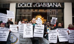 A protest outside Dolce & Gabbana's Old Bond Street store in March.