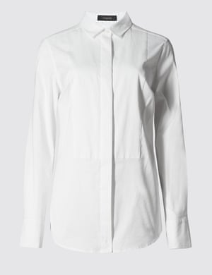"Bib front shirt by Autograph for <a href=""http://www.marksandspencer.com/no-peep-cotton-rich-bib-front-shirt/p/p22391029"">Marks &amp; Spencer</a>"