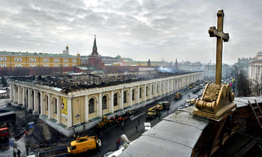 View of the Manezh exhibition hall in central Moscow, after a 2004 fire. Eleven years after a blaze gutted the building, religious protestors have attacked an exhibition there.