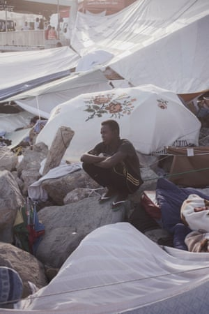 16year old Mohammed Adam from Dhafur, Sudan, has been in this camp for two days.