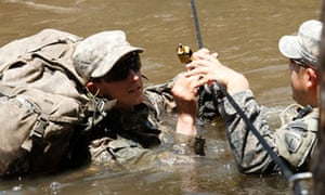 Soldiers on the US ranger training course, which has its first two female graduates.