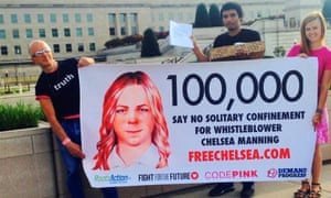 Chelsea Manning supporters at the Pentagon.