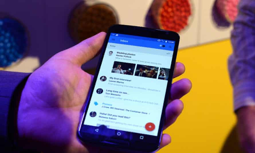 A Nexus 6 android using Google's Inbox app.