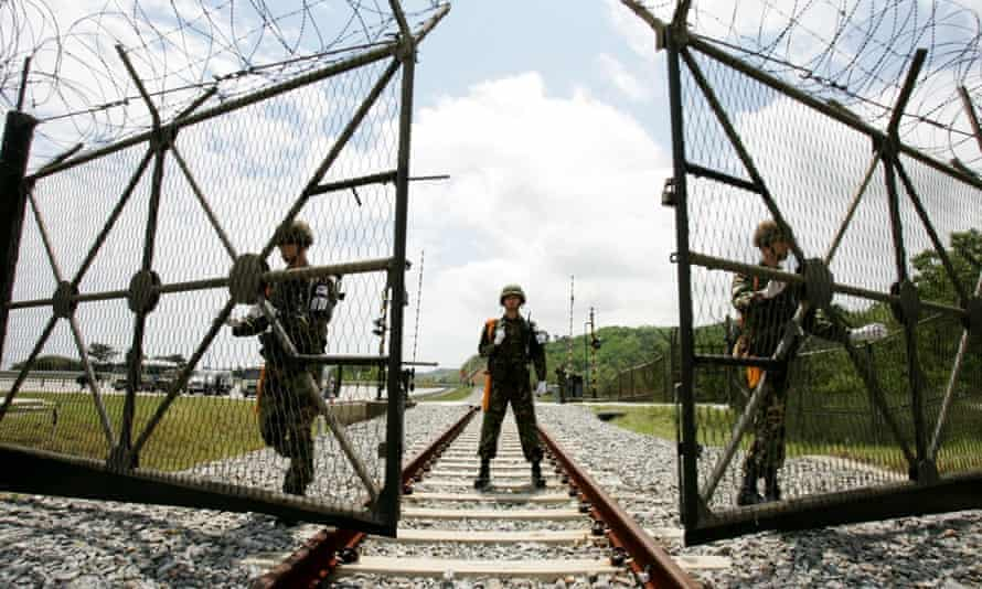 South Korean soldiers at the border between the two countries.