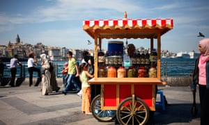 A mobile food stall on Kadiköy Pier, Istanbul.