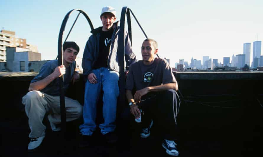 Peter Bici and Gio Estevez on a rooftop with Chris Keeffe, founder of New York City skate shop DQM.