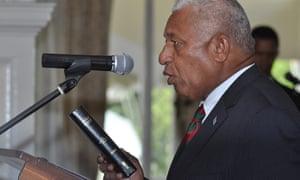 Voreqe (Frank) Bainimarama being sworn in as Fiji's prime minister in September 2014.
