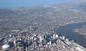 Aerial photograph of New Orleans.