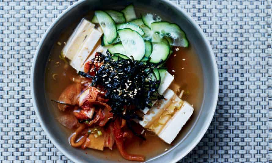 Chilled Tofu, Cucumber and Kimchi Broth