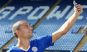 Gokhan Inler takes a selfie at The King Power Stadium after completing his move to Leicester. Photograph: Plumb Images/Leicester City FC via Getty Images