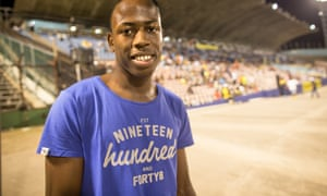 The world at his feet: Javon Francis, who broke Usain Bolt's 400m record at the 2014 Champs.