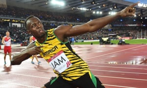 Jamaica's Usain Bolt poses after winning gold in the final of the Commonwealth Games 4x100m relay at Hampden Park, Glasgow, 2014.