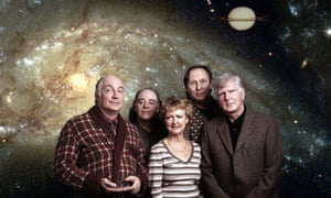 Susan Sheridan (centre) with the cast of The Hitchhiker's Guide to the Galaxy (left to right) Simon Jones, Geoffrey McGivern, Mark Wing-Davey and Stephen Moore