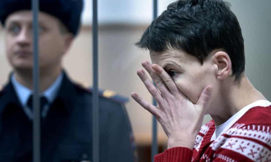 Ukrainian pilot Nadya Savchenko in court in Moscow at an earlier hearing. Russia