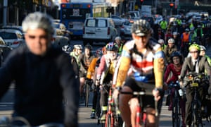 Cyclists protest the proposed closure of the College Street cycleway.