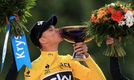 Chris Froome celebrates winning the 2015 Tour de France.